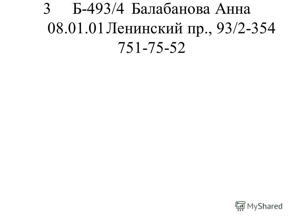 3Б-493/4Балабанова Анна 08.01.01Ленинский пр., 93/2-354 751-75-52