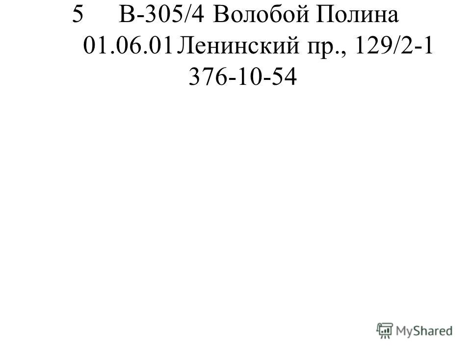 5В-305/4Волобой Полина 01.06.01Ленинский пр., 129/2-1 376-10-54