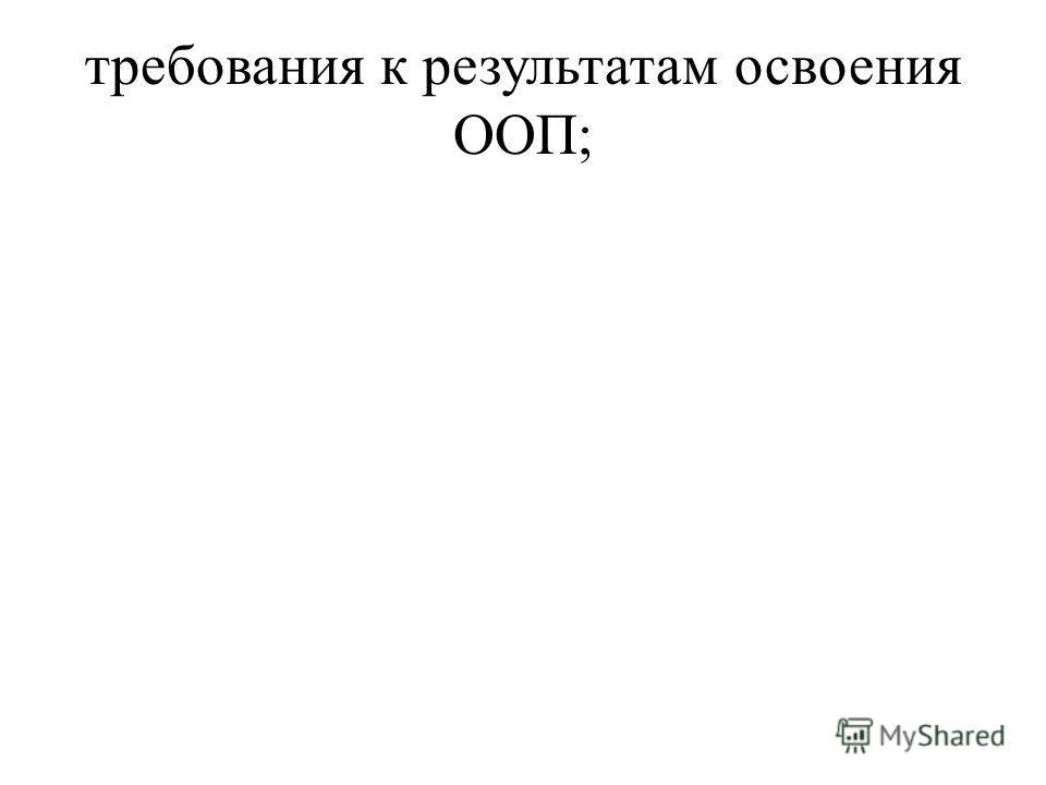 требования к результатам освоения ООП;