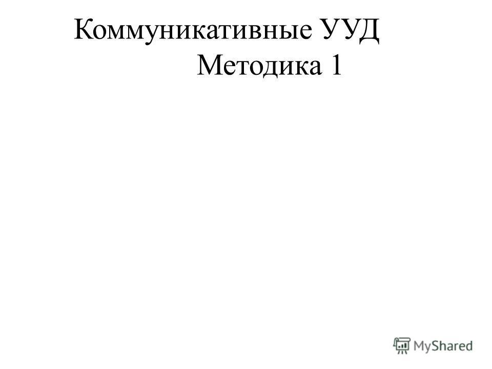Коммуникативные УУД Методика 1