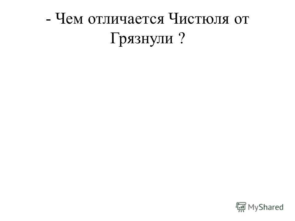 - Чем отличается Чистюля от Грязнули ?
