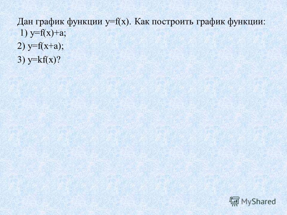Дан график функции у=f(х). Как построить график функции: 1) у=f(х)+а; 2) у=f(х+а); 3) у=kf(х)?
