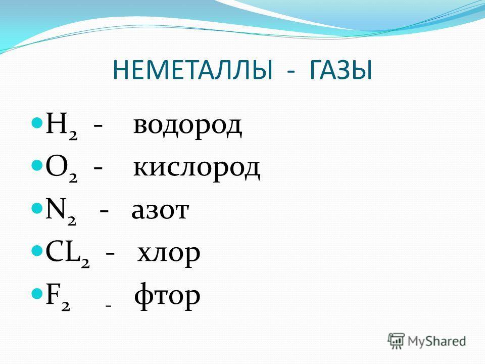 НЕМЕТАЛЛЫ - ГАЗЫ H 2 - водород O 2 - кислород N 2 - азот CL 2 - хлор F 2 - фтор