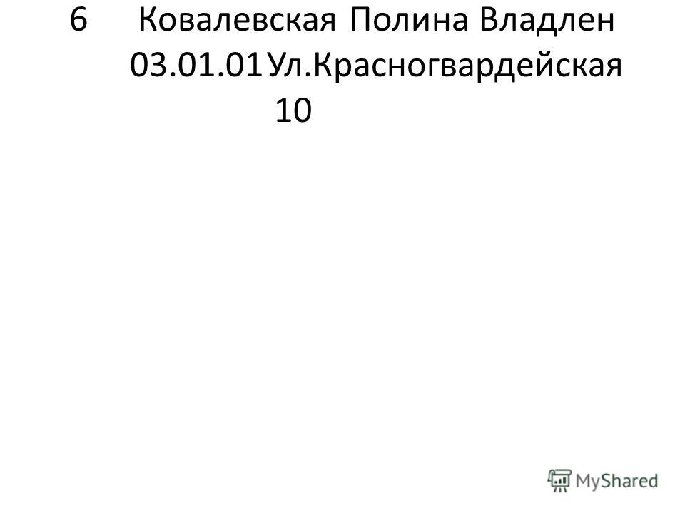 6Ковалевская Полина Владлен 03.01.01Ул.Красногвардейская 10