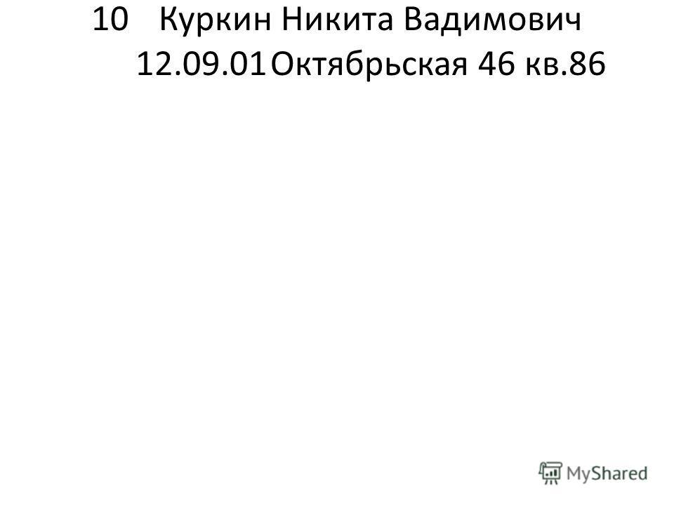 10Куркин Никита Вадимович 12.09.01Октябрьская 46 кв.86