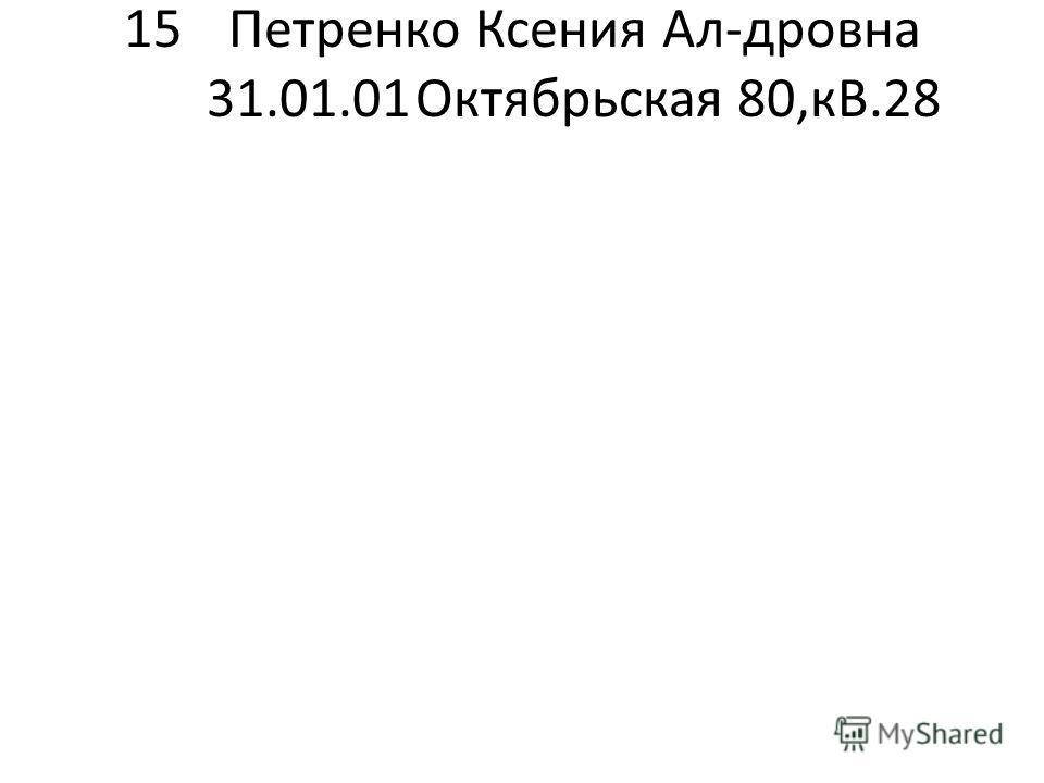 15Петренко Ксения Ал-дровна 31.01.01Октябрьская 80,кВ.28