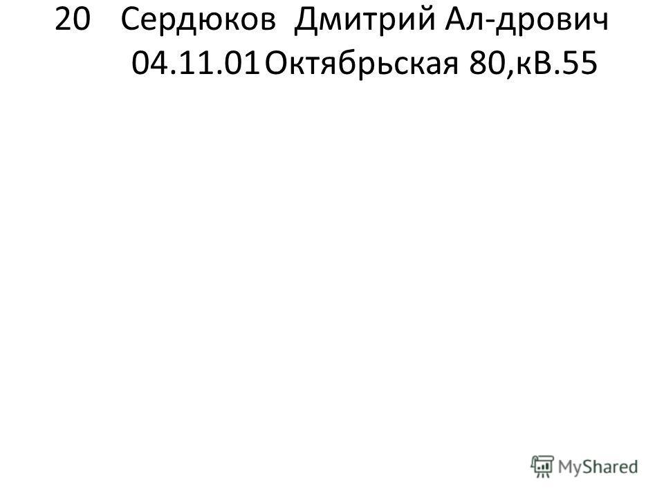 20Сердюков Дмитрий Ал-дрович 04.11.01Октябрьская 80,кВ.55