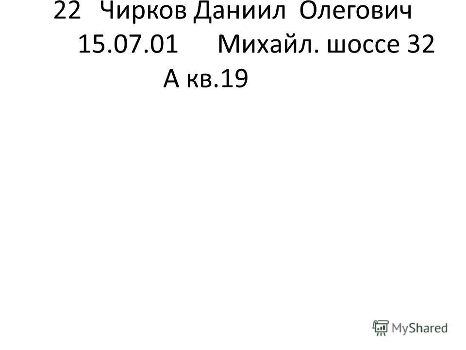 22Чирков Даниил Олегович 15.07.01Михайл. шоссе 32 А кв.19