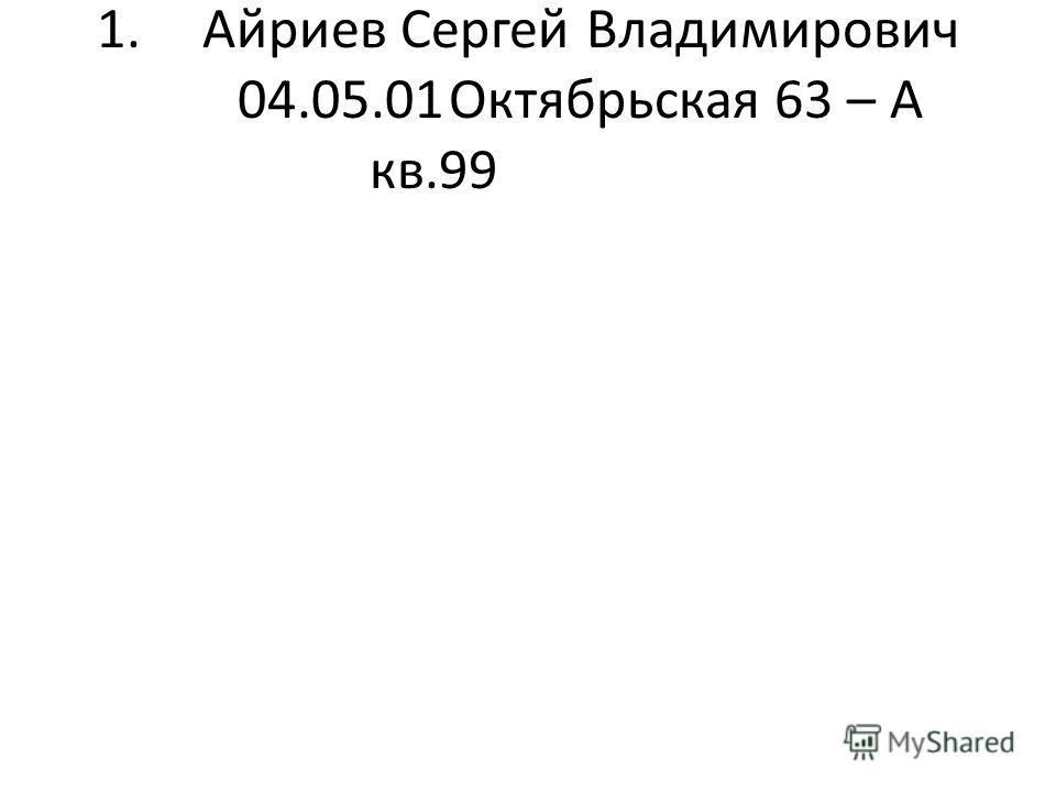 1.Айриев Сергей Владимирович 04.05.01Октябрьская 63 – А кв.99