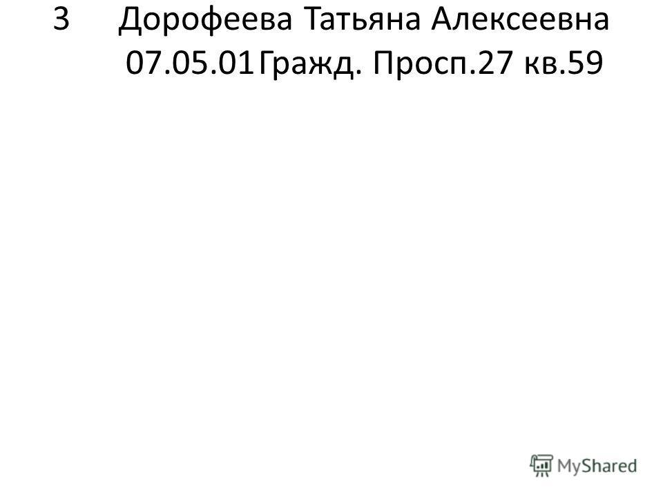 3Дорофеева Татьяна Алексеевна 07.05.01Гражд. Просп.27 кв.59