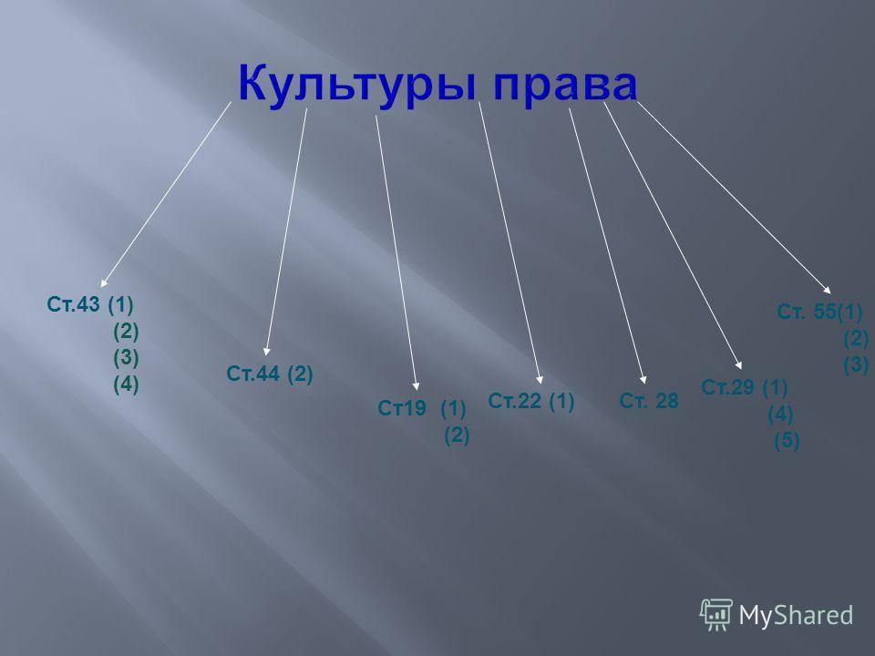 Ст.43 (1) (2) (3) (4) Ст.44 (2) Ст19 (1) (2) Ст.22 (1)Ст. 28 Ст.29 (1) (4) (5) Ст. 55(1) (2) (3)