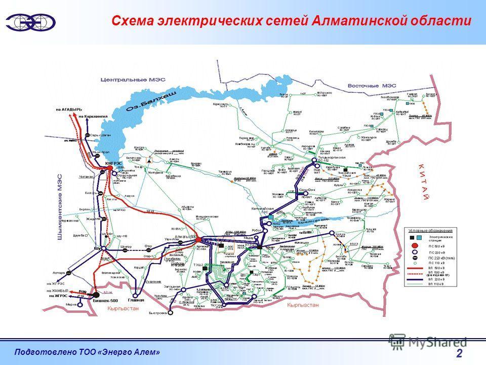 Подготовлено ТОО «Энерго Алем» 2 Схема электрических сетей Алматинской области