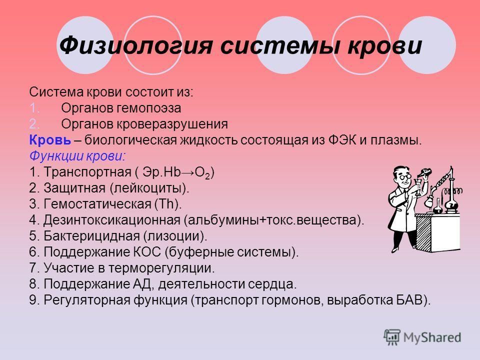 Физиология системы крови Система крови состоит из: 1.Органов гемопоэза 2.Органов кроверазрушения Кровь – биологическая жидкость состоящая из ФЭК и плазмы. Функции крови: 1. Транспортная ( Эр.HbО 2 ) 2. Защитная (лейкоциты). 3. Гемостатическая (Th). 4