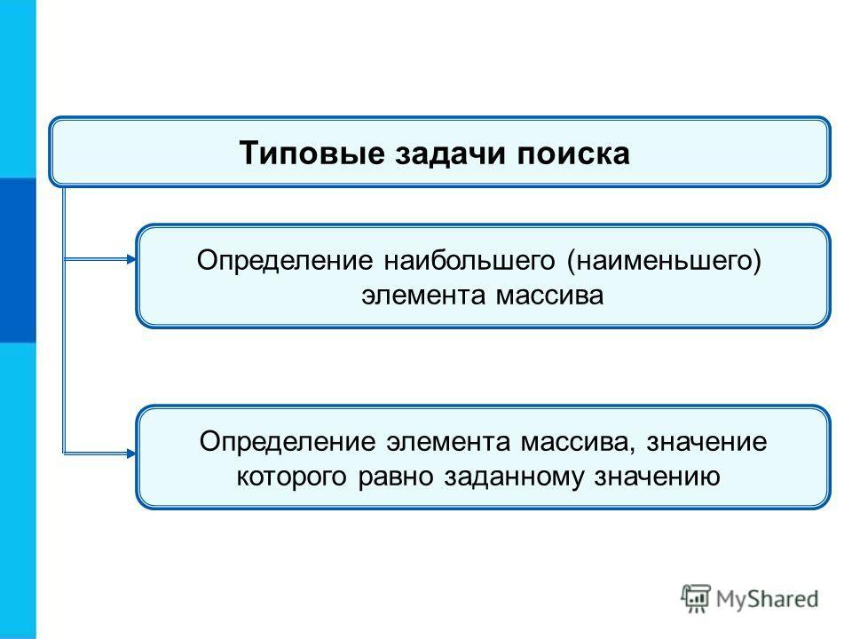 Типовые задачи поиска Определение наибольшего (наименьшего) элемента массива Определение элемента массива, значение которого равно заданному значению
