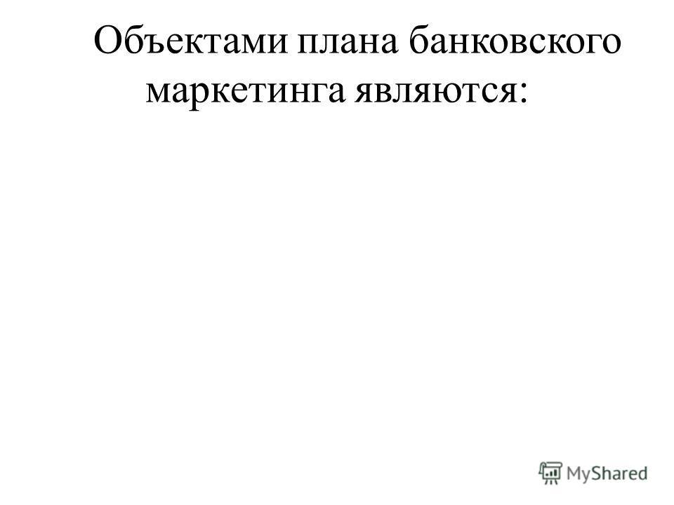Объектами плана банковского маркетинга являются: