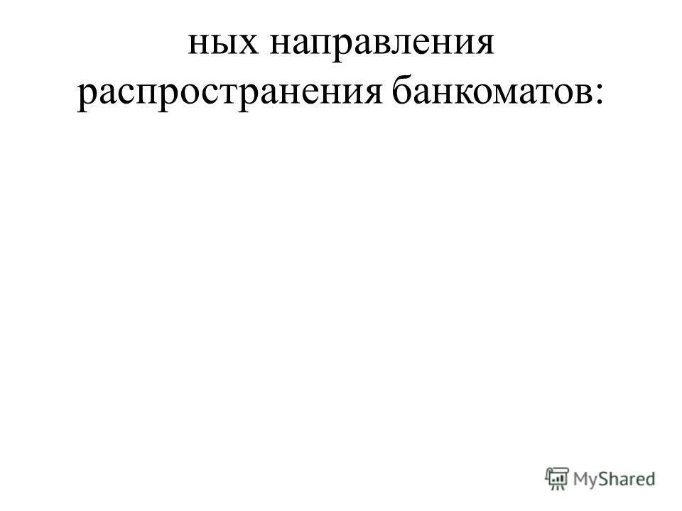 ных направления распространения банкоматов: