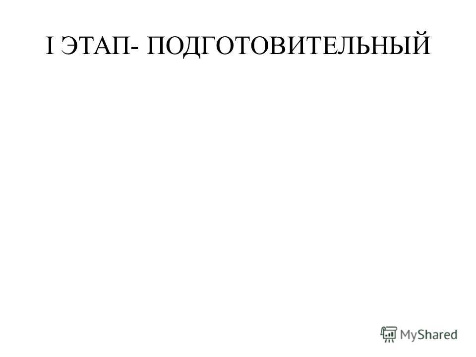 I ЭТАП- ПОДГОТОВИТЕЛЬНЫЙ