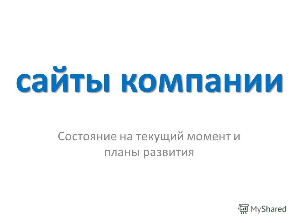 сайты компании Состояние на текущий момент и планы развития