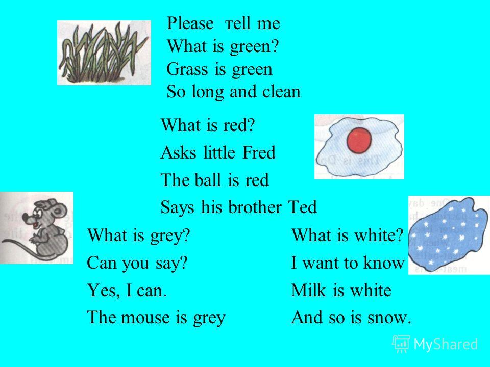 Please тell me What is green? Grass is green So long and clean What is red? Asks little Fred The ball is red Says his brother Ted What is grey? Can you say? Yes, I can. The mouse is grey What is white? I want to know Milk is white And so is snow.