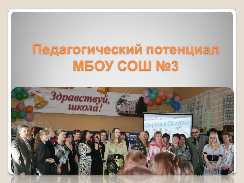 Педагогический потенциал МБОУ СОШ 3