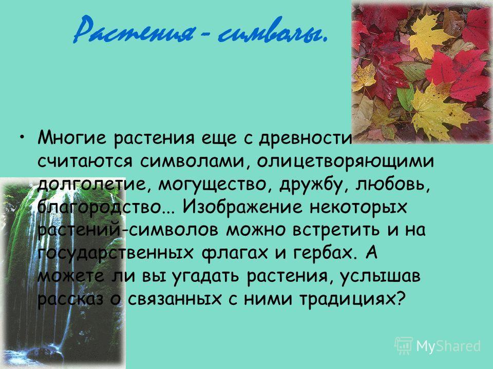 Растения - символы. Многие растения еще с древности считаются символами, олицетворяющими долголетие, могущество, дружбу, любовь, благородство... Изображение некоторых растений-символов можно встретить и на государственных флагах и гербах. А можете ли