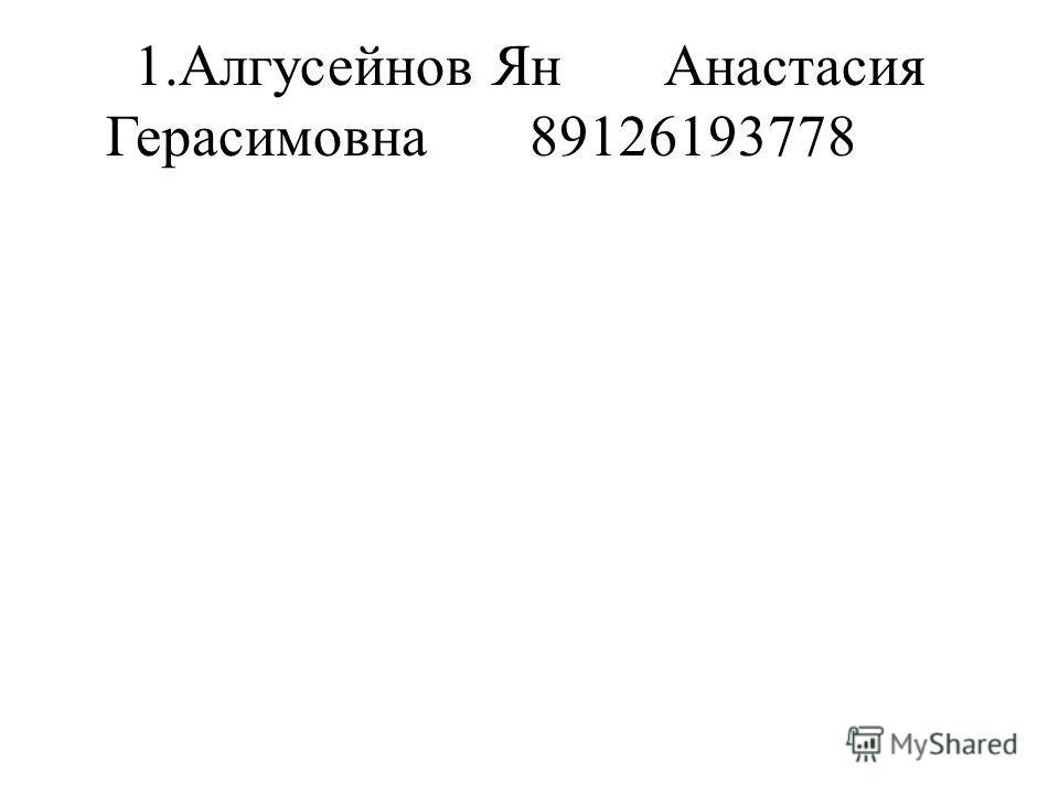 1.Алгусейнов ЯнАнастасия Герасимовна89126193778