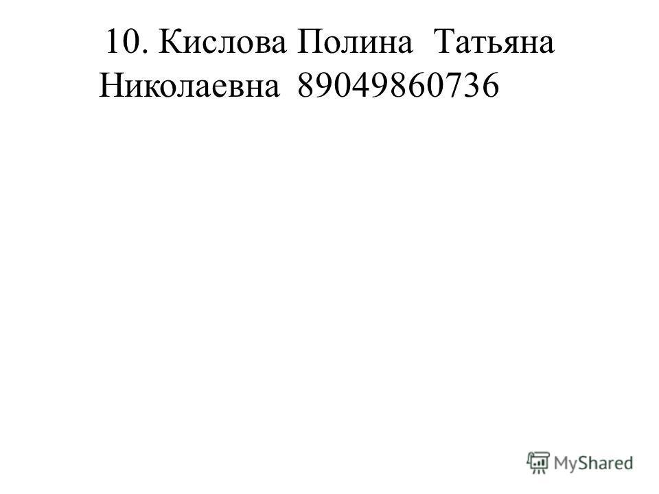 10. Кислова ПолинаТатьяна Николаевна89049860736