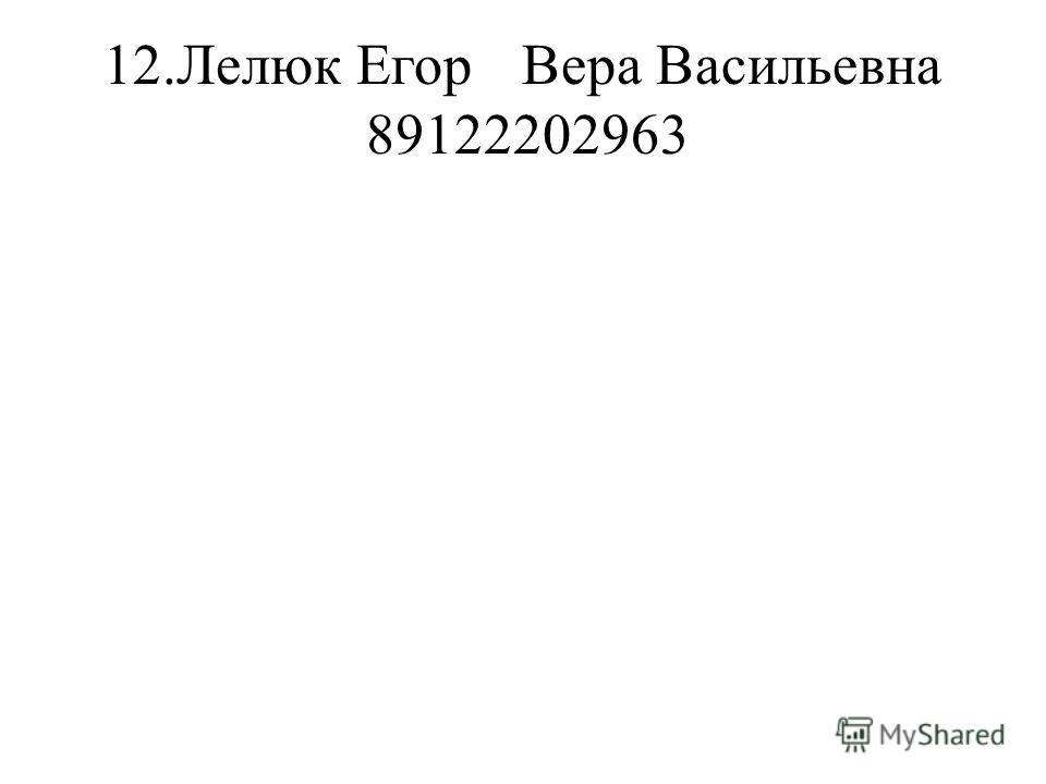 12.Лелюк ЕгорВера Васильевна 89122202963