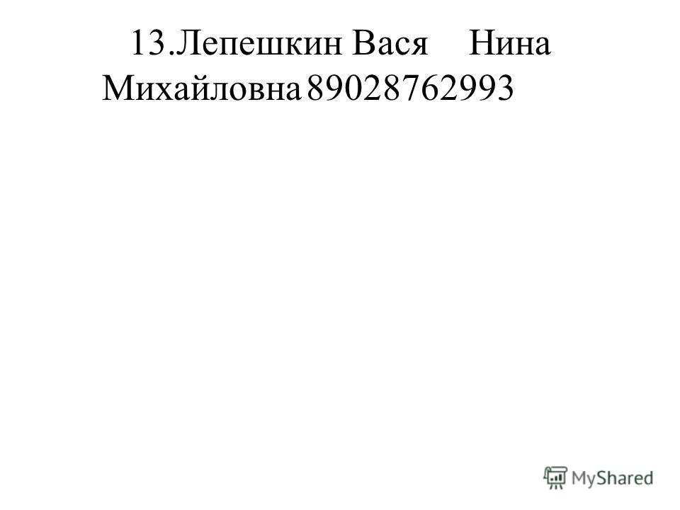 13.Лепешкин ВасяНина Михайловна89028762993