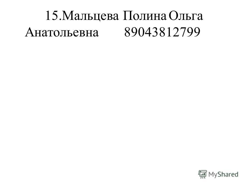 15.Мальцева ПолинаОльга Анатольевна89043812799