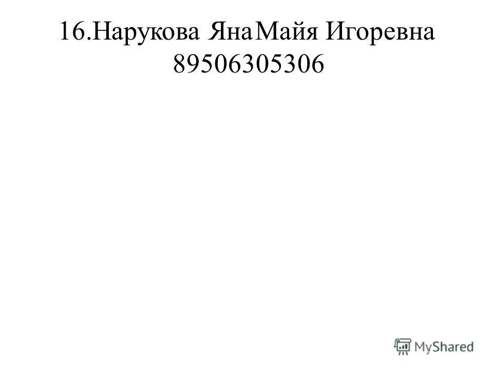 16.Нарукова ЯнаМайя Игоревна 89506305306