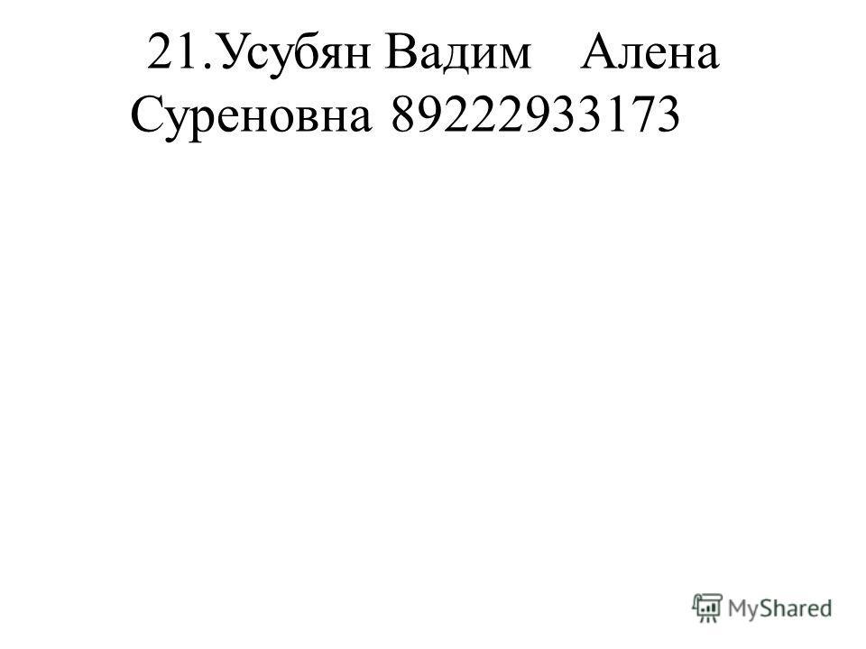 21.Усубян ВадимАлена Суреновна89222933173