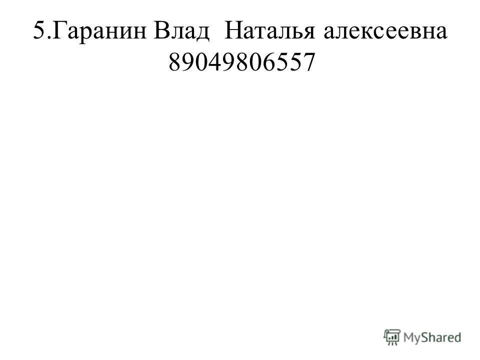 5.Гаранин ВладНаталья алексеевна 89049806557