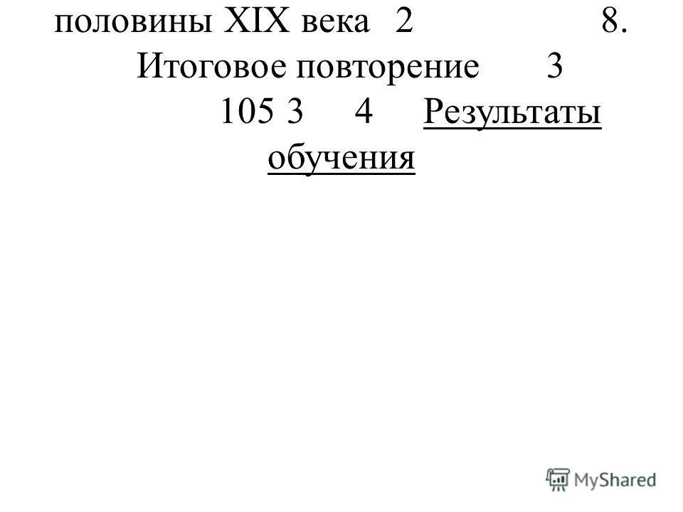 Зарубежная литература 2-й половины XIX века28. Итоговое повторение3 10534Результаты обучения