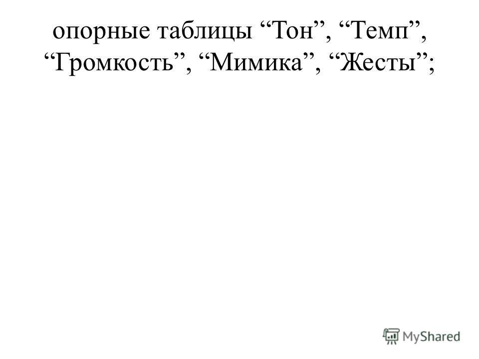 опорные таблицы Тон, Темп, Громкость, Мимика, Жесты;