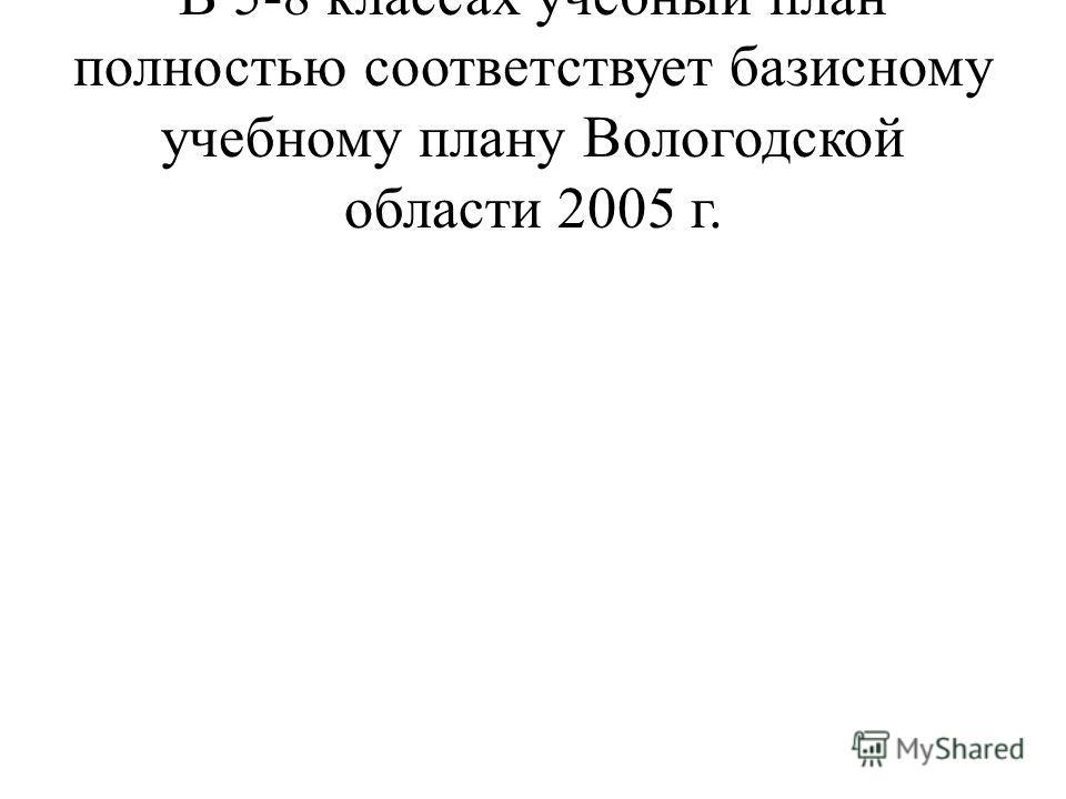 В 5-8 классах учебный план полностью соответствует базисному учебному плану Вологодской области 2005 г.