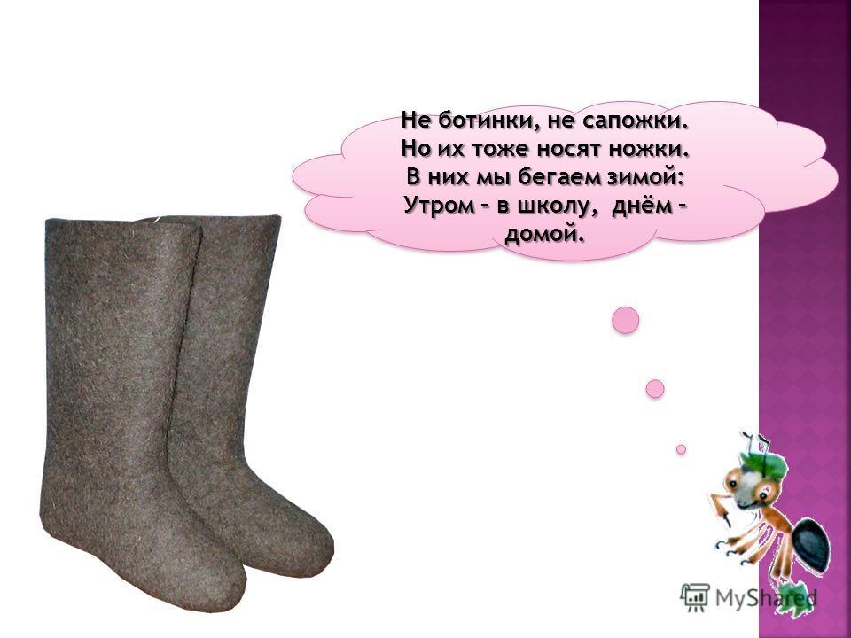 Не ботинки, не сапожки. Но их тоже носят ножки. В них мы бегаем зимой: Утром – в школу, днём – домой. Не ботинки, не сапожки. Но их тоже носят ножки. В них мы бегаем зимой: Утром – в школу, днём – домой.