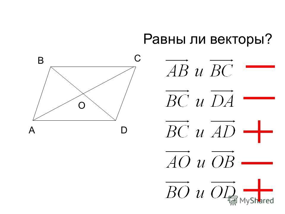 А В С D O Равны ли векторы?