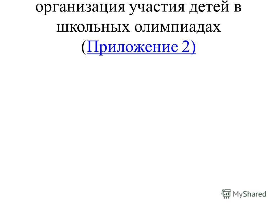 организация участия детей в школьных олимпиадах (Приложение 2)Приложение 2)