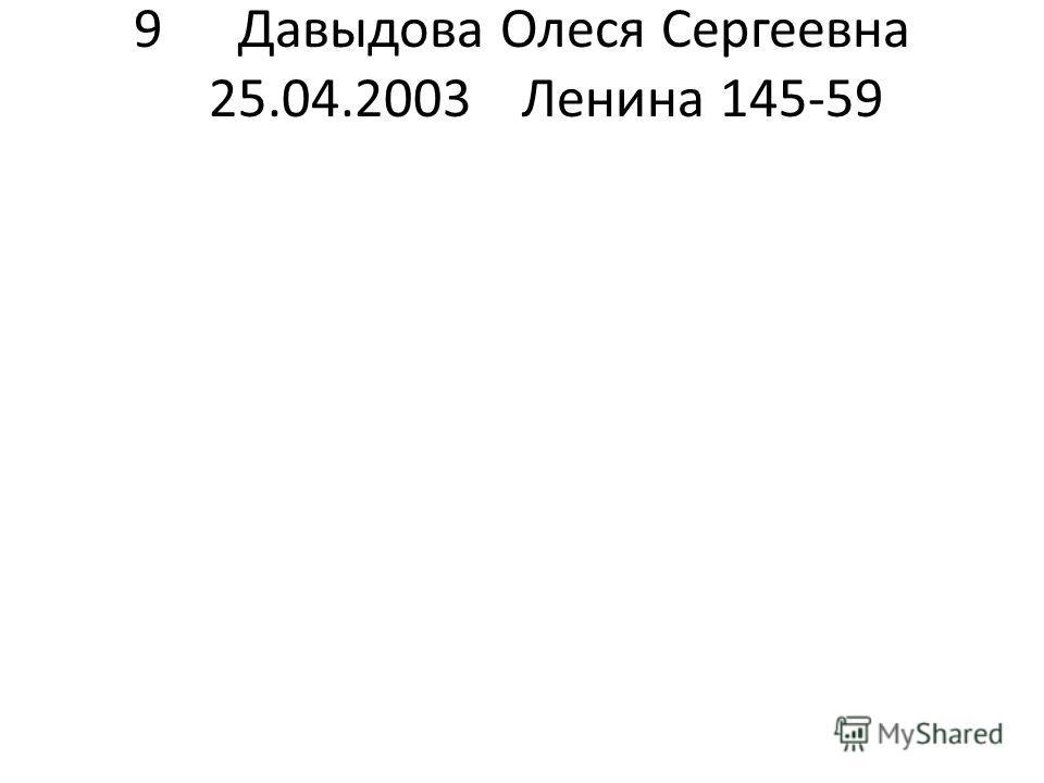 9Давыдова Олеся Сергеевна 25.04.2003Ленина 145-59