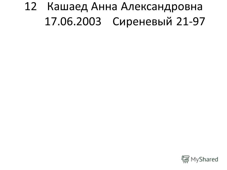 12Кашаед Анна Александровна 17.06.2003Сиреневый 21-97
