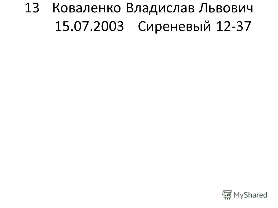 13Коваленко Владислав Львович 15.07.2003Сиреневый 12-37