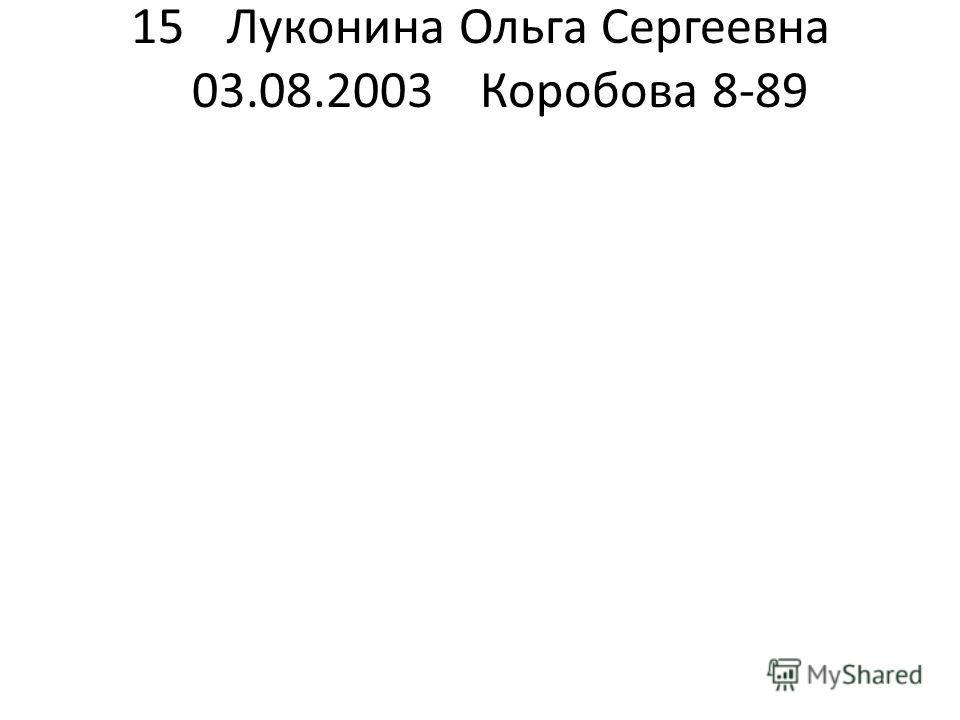 15Луконина Ольга Сергеевна 03.08.2003Коробова 8-89