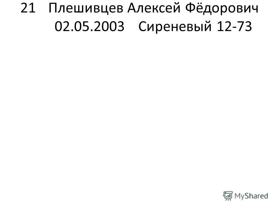 21Плешивцев Алексей Фёдорович 02.05.2003Сиреневый 12-73