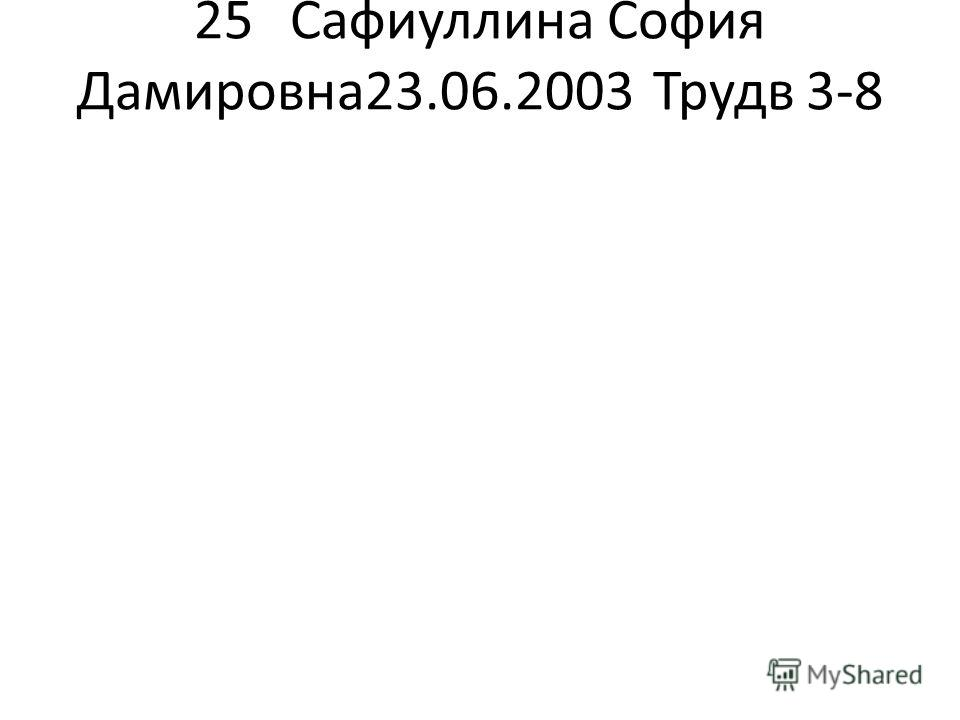 25Сафиуллина София Дамировна 23.06.2003Трудв 3-8