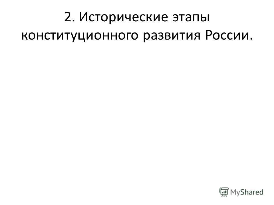 2. Исторические этапы конституционного развития России.