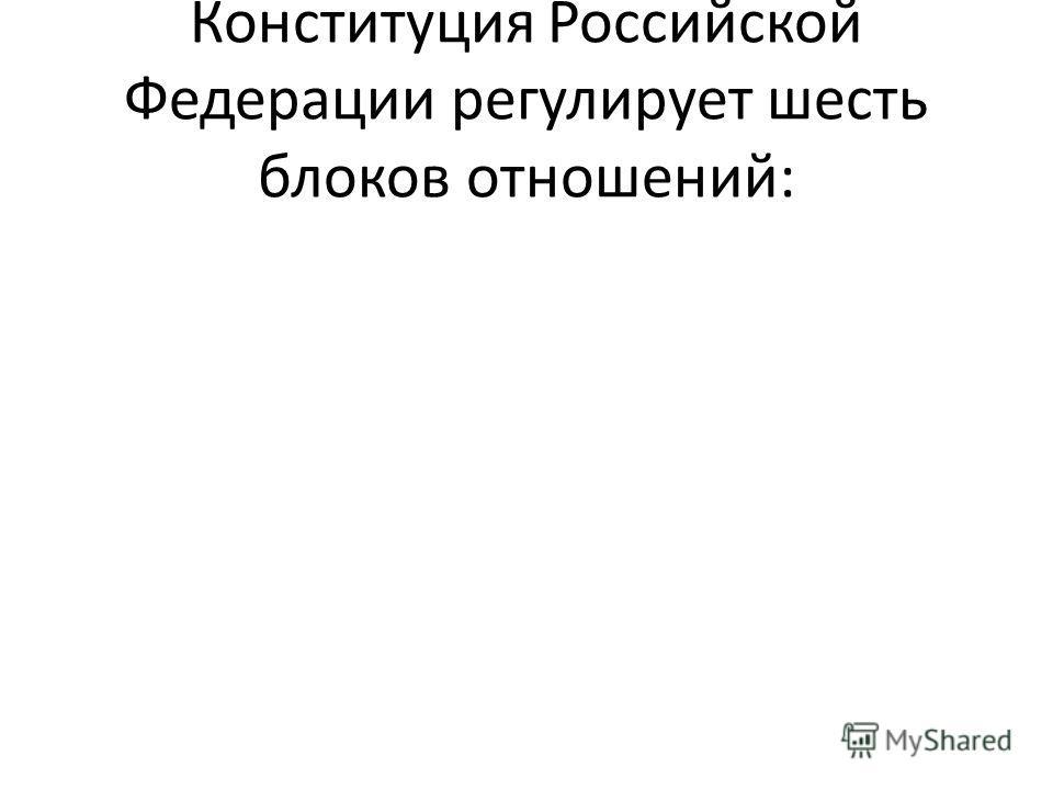 Конституция Российской Федерации регулирует шесть блоков отношений: