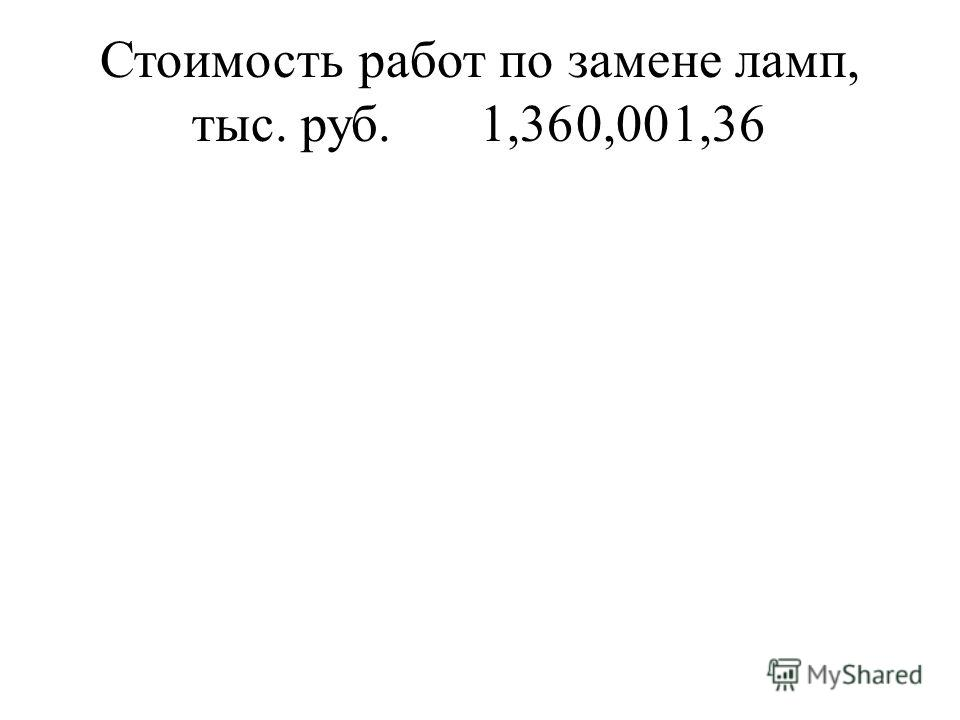Стоимость работ по замене ламп, тыс. руб.1,360,001,36