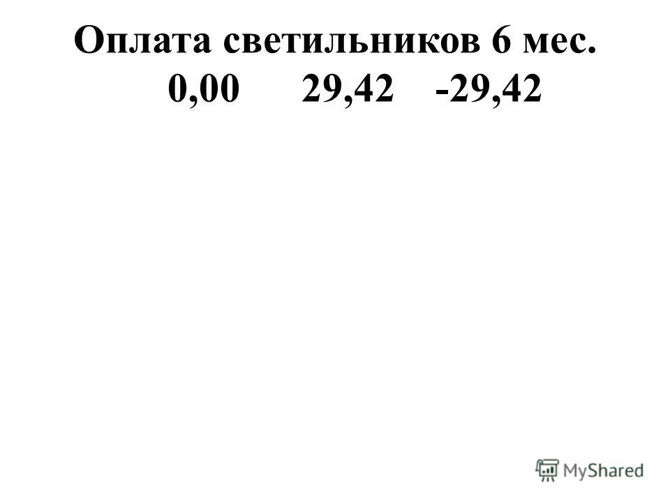 Оплата светильников 6 мес. 0,0029,42-29,42