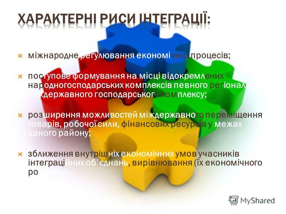 міжнародне регулювання економічних процесів; поступове формування на місці відокремлених народногосподарських комплексів певного регіонального міждержавного господарського комплексу; розширення можливостей міждержавного переміщення товарів, робочої с